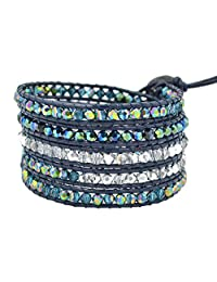 Real Spark(TM) Unisex Colorful Crystal Beaded Multilayer 5 Wrap Bangle Cuff Rope Leather Bracelet