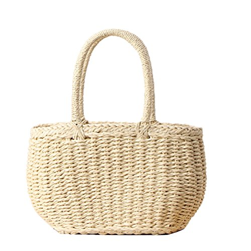 (Donalworld Girl Straw Bag Totes Rattan Beach Handbag Woven Shopping Tote Apricot)