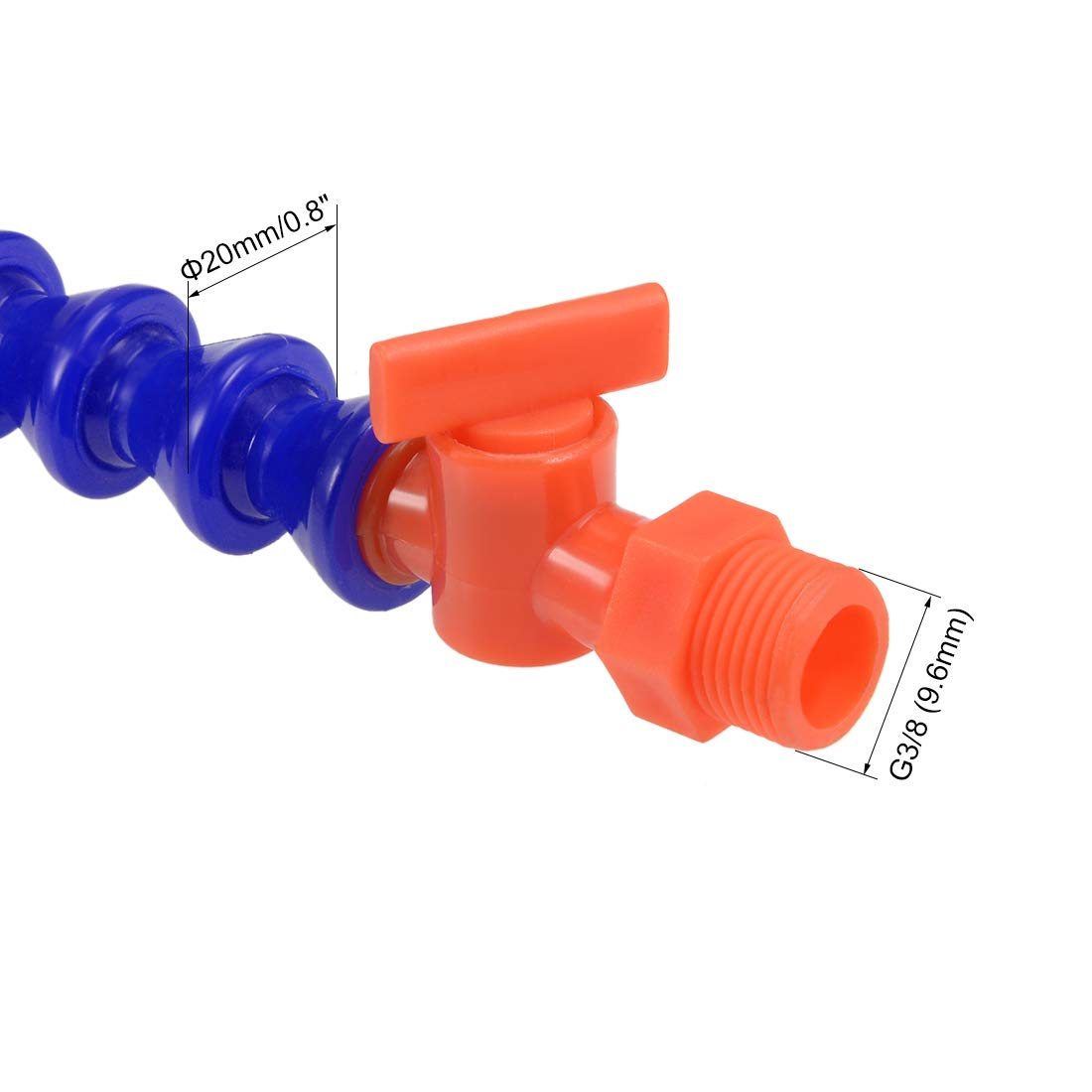 uxcell Flexible Coolant Pipe,G1//2 Thread Round Nozzle Flexible Water Oil Coolant Pipe Hose with Valve 300mm//11.81 inch Length 3Pcs