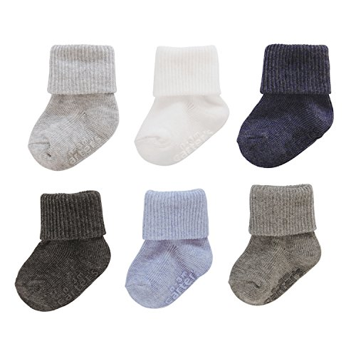 Carters Baby Boys Folded Cuff Socks (6 Pack), Heathered Blue/White/Grey, 12-24 Months