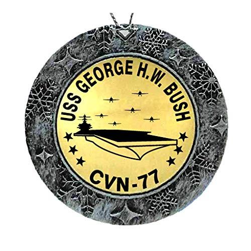 Bush Ornament (Spiffy Custom Gifts USS George H.W. Bush Acrylic Brass Ornament 2 Sided)