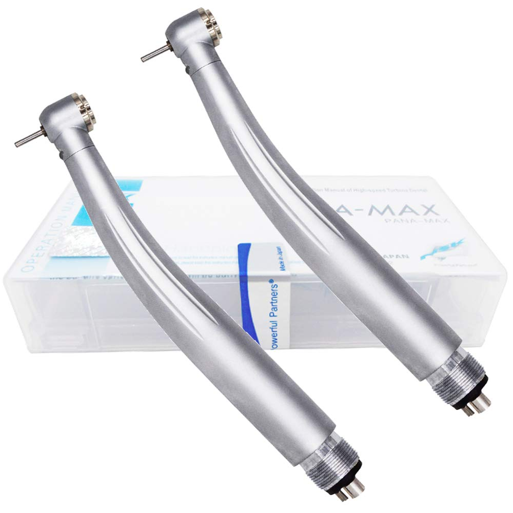 2PCS Max Style High Speed Hand Kit Compatible with LED Light 4 Holes, Push Button Chuck Triple Water Spray Air Tools