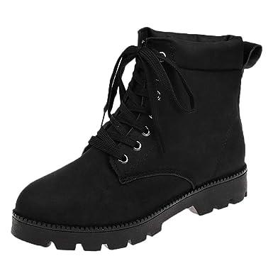 POLP Botas botines mujer con cordones comodos Botas de Agua Bota de Goma Mujer Zapatos Tobillo