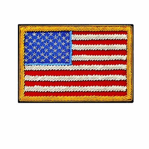 HAIXUN Handmade American Flag Patch with Metallic Thread Embroidery