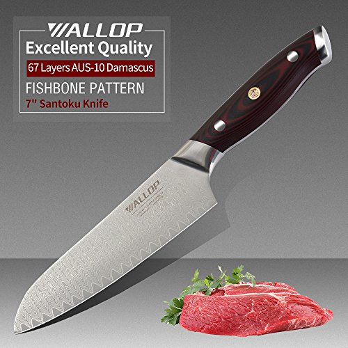 WALLOP Vampire Series 7' Japanese Santoku Knife with AUS-10 Core 67 Layers Damascus Stainless Steel,Wave Blade Pattern and Reddish Black G10 Handle,Meat Cleaver, Vegetable Salad Chopper Cutter Knife