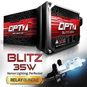 Blitz 35w HID Kit - All Bulb Sizes and Colors - Relay Capacitor Bundle - 2 Yr Warranty - H4 (9003) Hi-Lo (8000K Ice Blue Xenon Light)