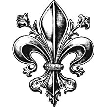 FANCY DETAILED FLEUR DE LIS BLACK GREY WHITE Vinyl Decal Sticker Two in One Pack (4 Inches Tall)