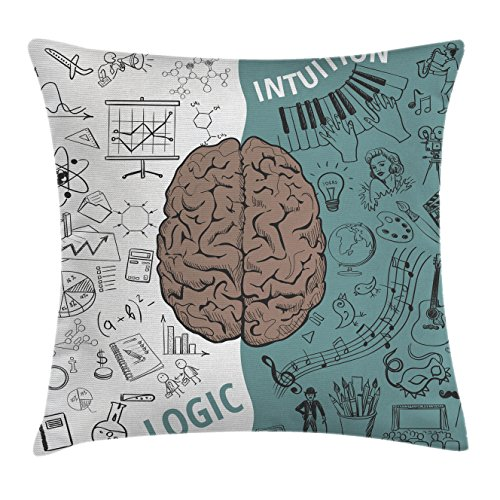 Modern Decor Throw Pillow Cushion Cover by Ambesonne, Brain Image with Left and Right Side Music Logic Art Side Science Print, Decorative Square Accent Pillow Case, 18 X18 Inches, White Teal Umber