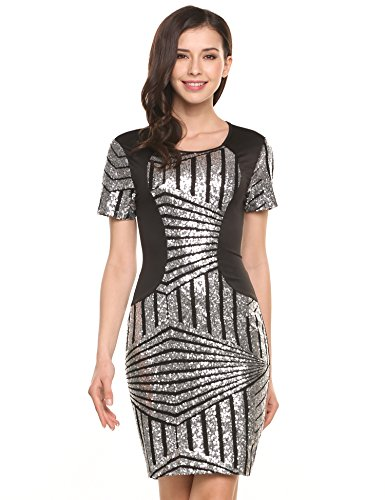 3dc08fefd04 Meaneor Sleeve Bodycon Sequins Glitter