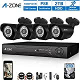 A-ZONE 4CH Security Camera System Full 1080P DVR with 4x 1.0 Mega-Pixels(1280×720) Superior Night Vision IR Cut Leds outdoor CCTV Camera,Pre-Installed 2TB HD Review