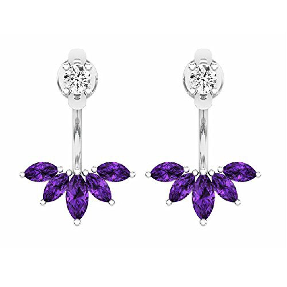 Sterling Silver Marquies Amethyst & Round White Diamond Ladies Stud Earrings Jackets Set