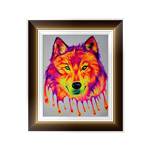 - Smartcoco 5D DIY Diamond Colored Wolf Wall Sticker 3D Round Diamond Mosaic Cross Stitch Embroidery 30x35CM