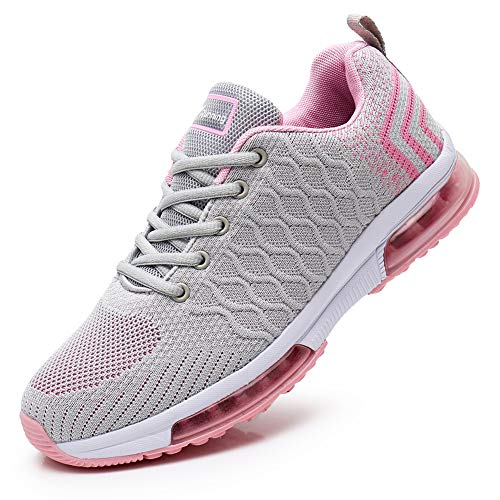 JARLIF Women's Lightweight Fashion Walking Sneakers Athletic Tennis Running Shoes (6.5 B(M), GrayPink)