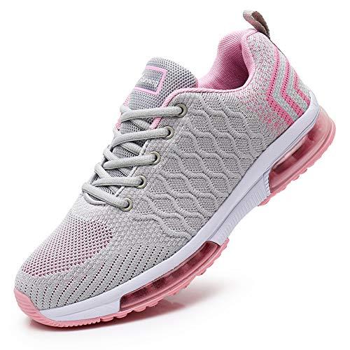 JARLIF Women's Lightweight Fashion Walking Sneakers Athletic Tennis Running Shoes (6 B(M), GrayPink)
