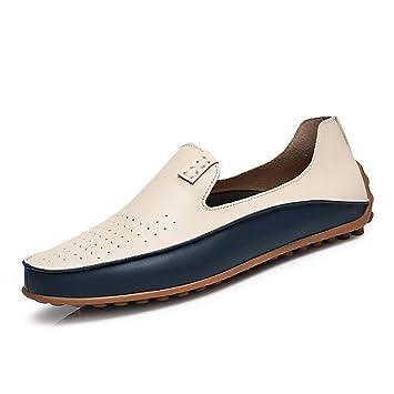 CAI Zapatos de Hombre Artificial PU/Mocasines de Cuero Primavera/Otoño/Invierno Comodidad/Zapatos de conducción Mocasines y Slip-Ons Blanco/Azul/Zapatos de ...