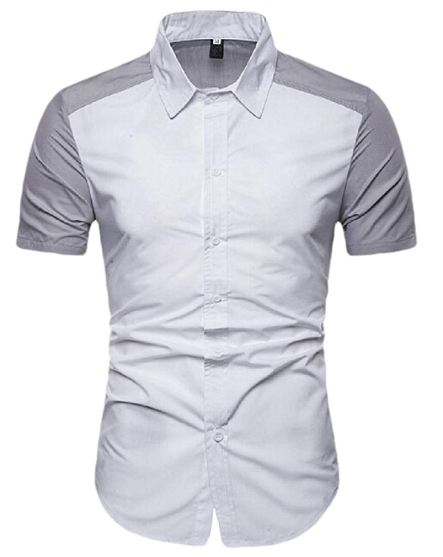 Xswsy XG Mens Short Sleeve Button Down Colorblock Slim Fit Cotton Shirts