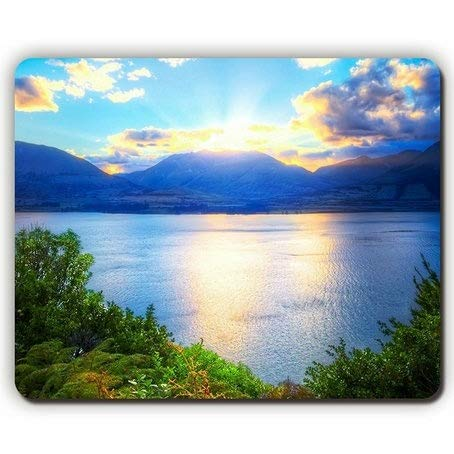 Mouse pad,Mountains Sun Light Clouds Vegetation Lake Bushes Green Fern Trees,Game Office Mousepad