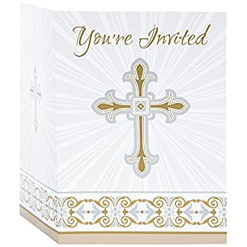 Amazoncom Gold Silver Radiant Cross Religious Invitations 8ct