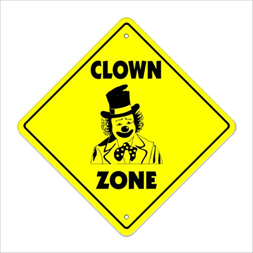 "Clown Crossing Sign Zone Xing | Indoor/Outdoor | 12"" Tall Plastic Sign circus face paint shoes funny sad"
