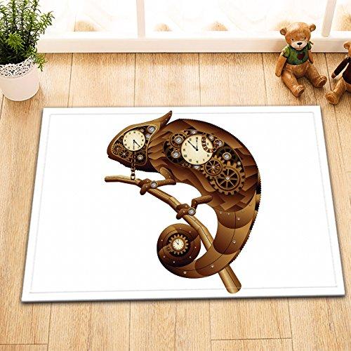- Copper Industrial Machine Decor Bath Rugs 3D Digital Printing 16x24 Inch Customized Personality Branch Golden Gears Lizard Chameleon Clock Outdoor Indoor Front Door Mat Non-slip Absorbent Bath Mat