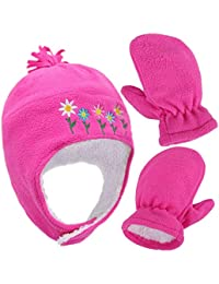 Girls Sherpa Lined Flower Embroidered Fleece Hat and Gloves Set, M 2-4 Years