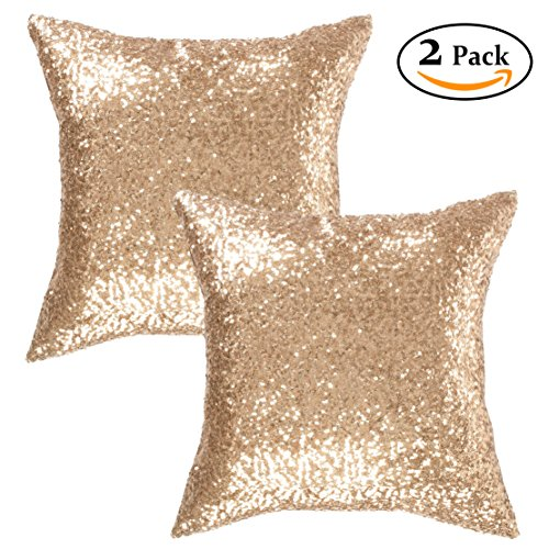 Gold Cushion Cover - Kevin Textile Decorative Throw Sequin Pillow Sham Glitzy Comfy Satin Solid Sequins Pillow Cover 18 Inch Square Cushion Cover, Hidden Zipper Design, 2 Pieces(Light Gold)