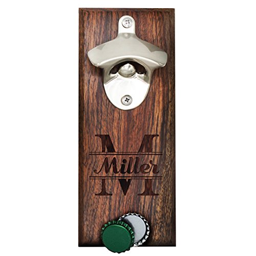 Personalized Wall Mount Bottle Opener Magnet Cap Catcher - Custom Engraved Groomsmen Wall Mounted Magnetic Gift (Walnut, -