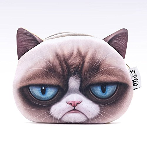 Funnylive Lovely Naughty Cat Face Change Purse Coin Bag Girl's Characteristic Purse Headphone Cables Receive Package (A)