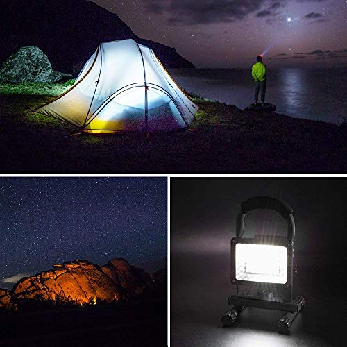[15W 24LED] Rechargeable Work Lights, Lanfu Outdoors Camping Emergency Lights with SOS Mode, Portable Floodlights with Built-in Lithium Batteries and 2 USB Ports to Charge Digital Devices (Black) by JINCAN (Image #6)