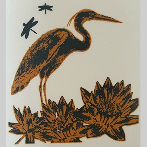 Heron & Lotus Gold Metallic & Black Fusing Enamel Decal for -
