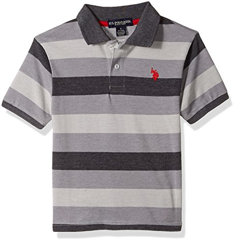 U.S. Polo Assn. Boys' Big Short Sleeve Striped Cotton-Poly Polo Shirt, Black, 10/12