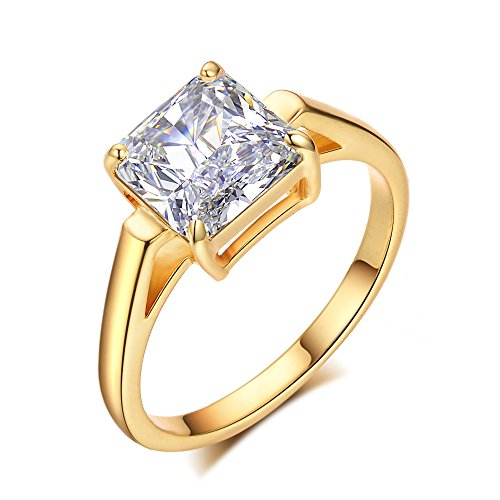 LicLiz Cubic Zironia Solitaire Engagement Ring Princess Cut Cathedral Ring for Women 2.25 Carats Sizes 5 to 9 (Gold Color, 7) Cathedral Solitaire Engagement Ring