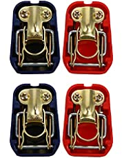 DOITOOL 2 Sets Car Battery Terminal Clamps Quick Release Connector Battery Quick Disconnect Terminals with Red and Blue Cover for Top Post Battery