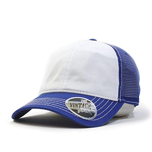 Blue Mesh Trucker Hat - Vintage Year Washed Cotton Low Profile Mesh Adjustable Trucker Baseball Cap (Royal/White/Royal)