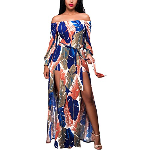 Floral Jumper Dress - Women Sexy Long Sleeve Off Shoulder Floral Rompers Jumpsuits Maxi Dresses with Slit White 2XL