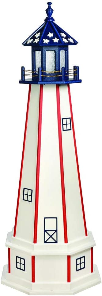 DutchCrafters Decorative Lighthouse with Base - Wood, Patriotic Style (Red/White/Blue, 3)