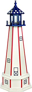 product image for DutchCrafters Decorative Lighthouse with Base - Wood, Patriotic Style (Red/White/Blue, 3)