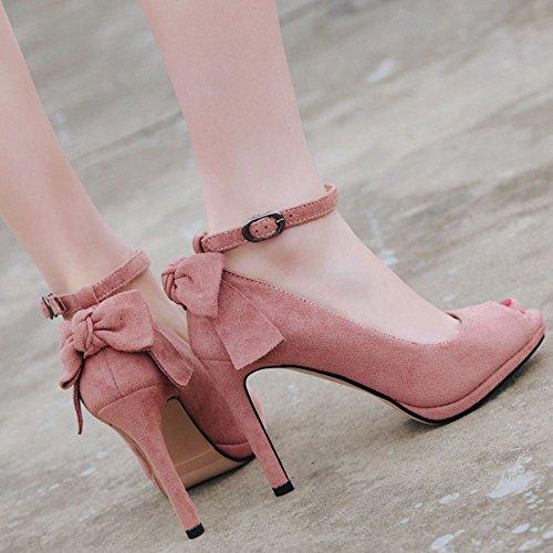 Zanpa Femmes Pink Mode Lotus Talons Peep Toe Chaussures qTST1