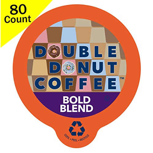 Double Donut Gourmet Dark Roast Coffee, in Recyclable Single Serve Cups for use with all Keurig K-Cups Brewers, 80 Count (Bold Blend)