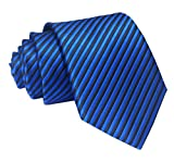 Ctskyte Men Boys Classic Fine Stripe Jacquard Woven Ties Formal Business Necktie, Royal Black, One Size
