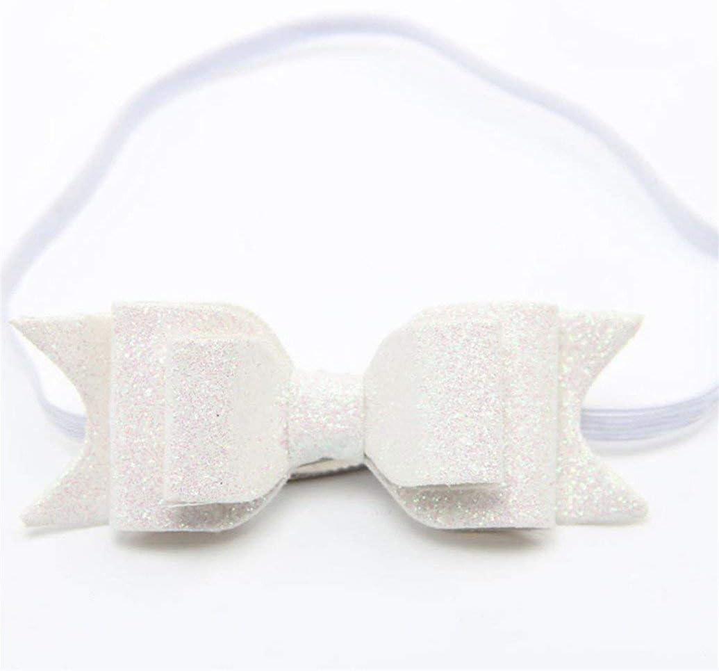 Ogquaton Cute Baby Girls Glitter Big Bow Knot Elastic Hair Band Headwear Headband White Stylish and Popular