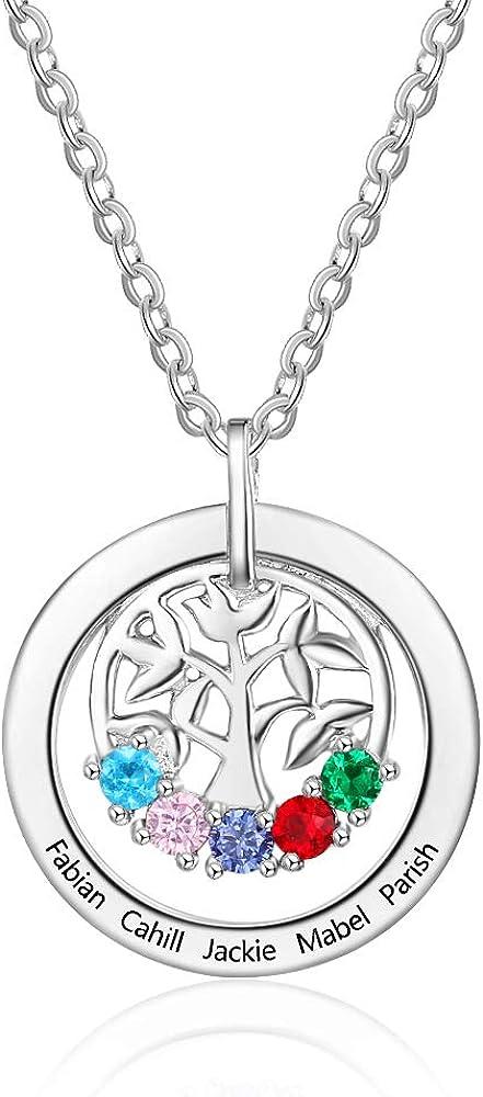 DaMei Collar con Colgante de árbol genealógico con 5 Piedras de Nacimiento simuladas, Colgante de árbol de la Vida, Collar para Mujeres de Plata de Ley 925, Collar para Mujer