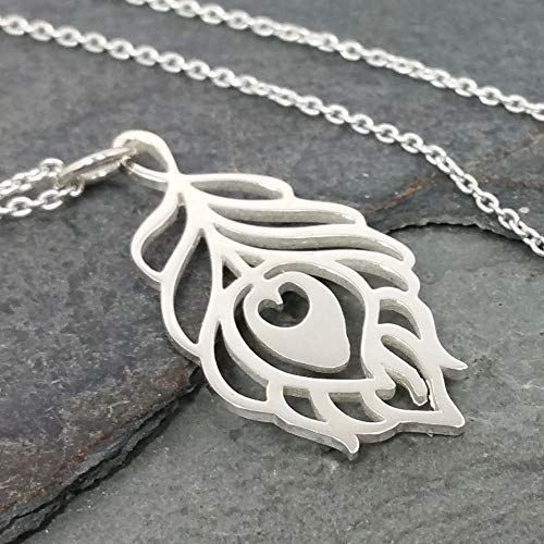 Peacock Feather Cutout Necklace - 925 Sterling Silver