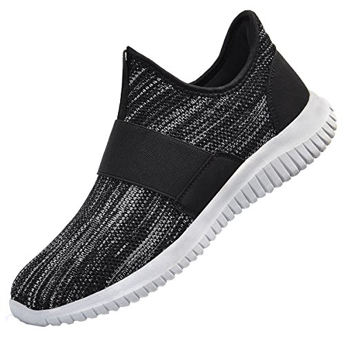 QANSI Men's Shoes Mesh Comfortable Gym Shoes Lightweight Breatable Wide Hiking Barefoot Shoes Black Gray