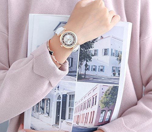 Womens Quartz Watch OUBAOER Crystal Accented Leather Band Watch for Women Transparent Watch with Date Lady Wristwatches for Business(Rose White) by OUBAOER (Image #3)
