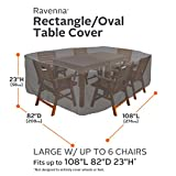 Classic Accessories Ravenna Rectangular/Oval Patio Table & Chair Set Cover - Premium Outdoor Furniture Cover with Durable and Water Resistant Fabric, Large (55-155-045101-EC)
