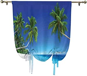 Tropical Decor Tie Up Curtain Panels,Remote Pacific Ocean Exoticism Landscape Tourism Sunlight Palm Branches Window Blackout Shade,45x63 Inch,for Kids Bedroom Blackout Curtains