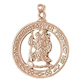 Rose Gold-plated Silver 36mm Saint Christopher Pendant Necklace