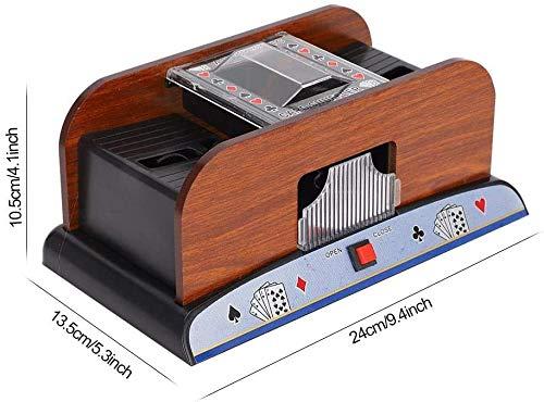 Romm/é Batteriebetriebener automatischer Kartenmischer Holzkartenmischer 2-Deck-Kartenmischer f/ür Familienpokerspiele und andere Kartenspiele Poker Blackjack