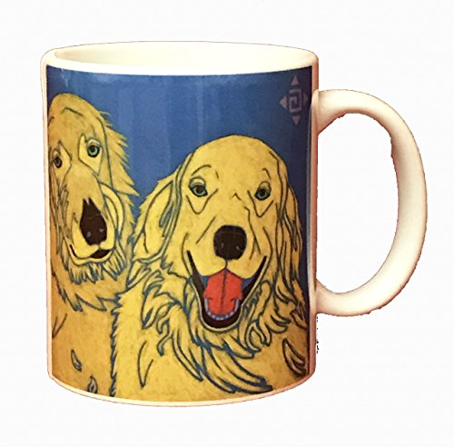Golden Retriever Buddies Mug, Dog Mug 11 oz Ceramic Coffee Cup by Angela Bond (Angela Cup)